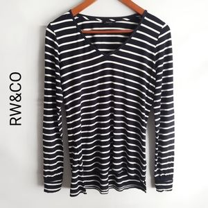 RW&CO women's v-neck long sleeve striped size S